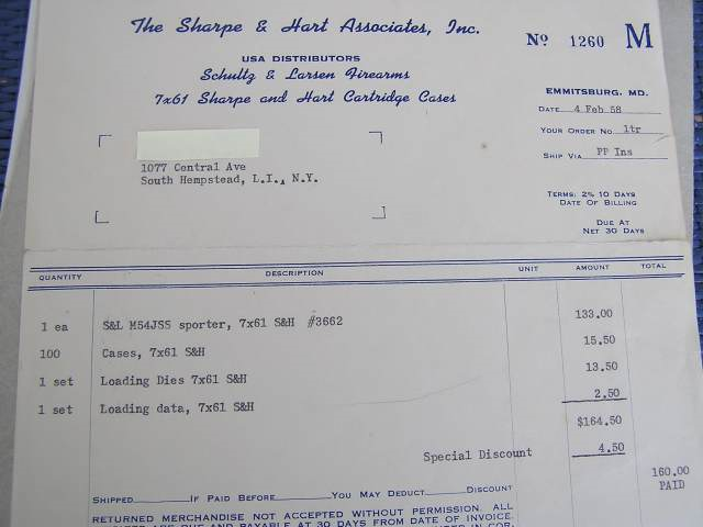 Invoice from old times - a Schultz & Larsen 54J Sporter sold to a customer