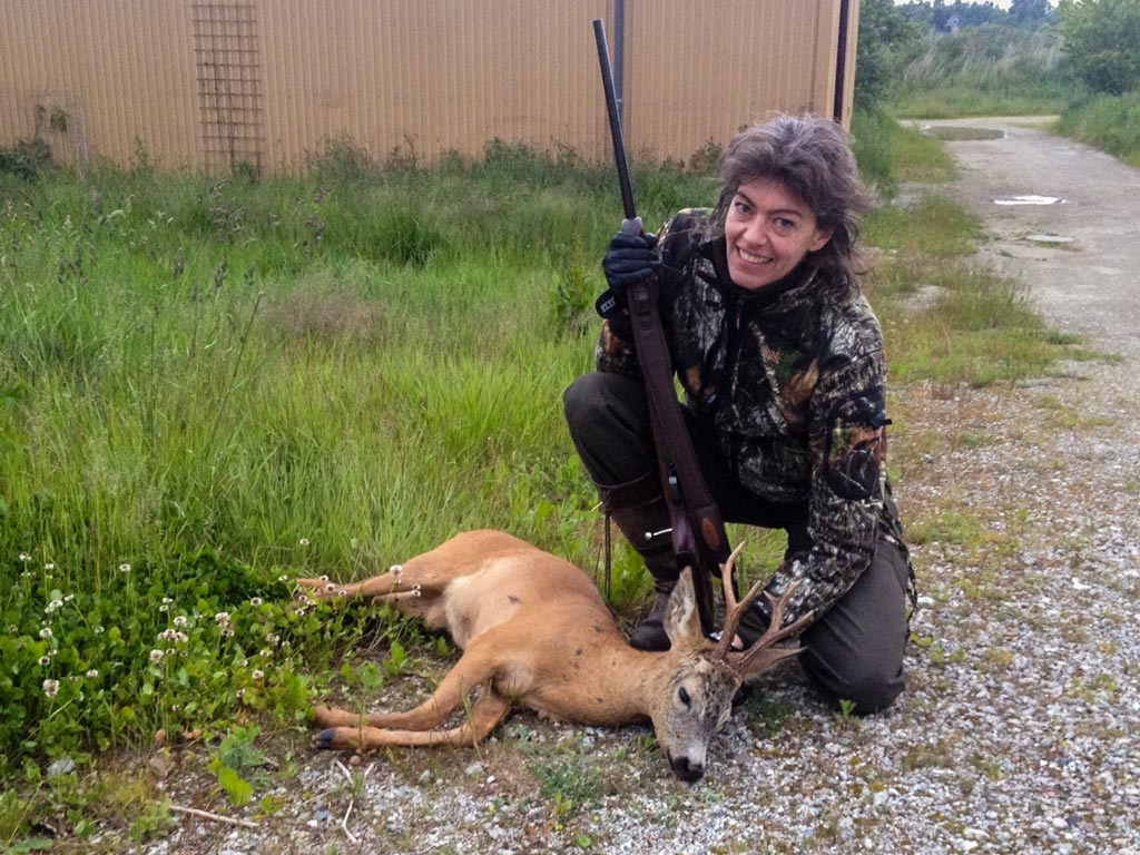 Gitte and her first buck, and her beloved Victory, .243 Win